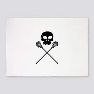 Lacrosse Skull Crossed Sticks 5'x7'Area Rug