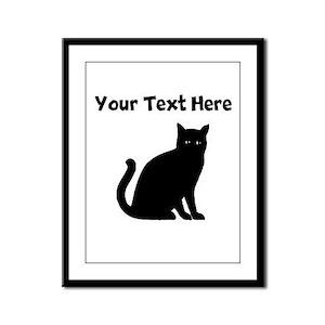 Cat Silhouette Framed Panel Print