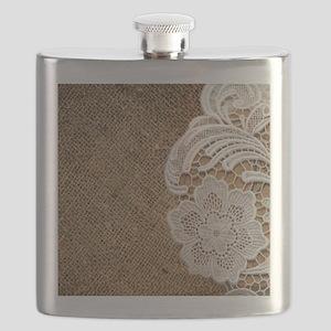 shabby chic burlap lace Flask