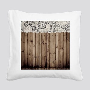 shabby chic lace barn wood Square Canvas Pillow