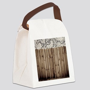 shabby chic lace barn wood Canvas Lunch Bag