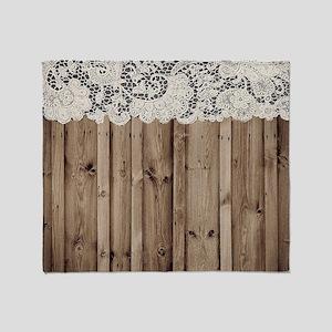 shabby chic lace barn wood Throw Blanket