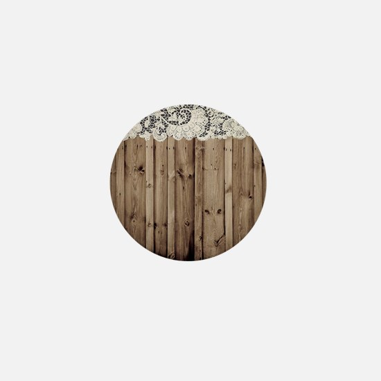 shabby chic lace barn wood Mini Button
