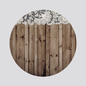 shabby chic lace barn wood Round Ornament