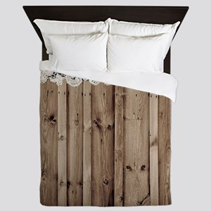 shabby chic lace barn wood Queen Duvet