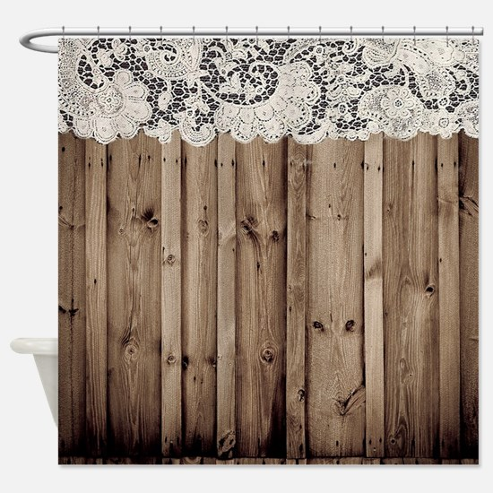 shabby chic lace barn wood Shower Curtain