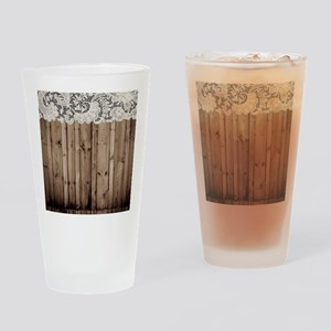 shabby chic lace barn wood Drinking Glass