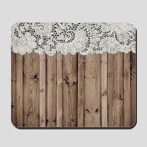 shabby chic lace barn wood Mousepad