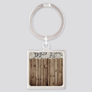 shabby chic lace barn wood Square Keychain
