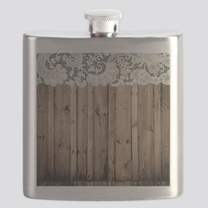 shabby chic lace barn wood Flask