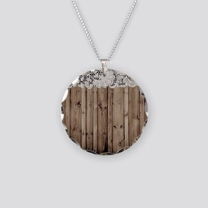 shabby chic lace barn wood Necklace Circle Charm