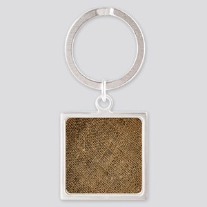 shabby chic country burlap Square Keychain