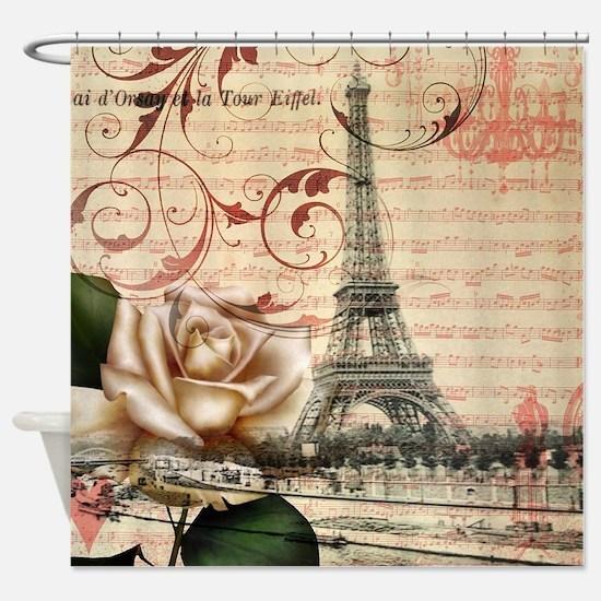 girly rose eiffel tower paris Shower Curtain