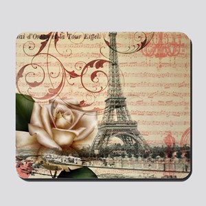 girly rose eiffel tower paris Mousepad