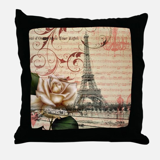 girly rose eiffel tower paris Throw Pillow