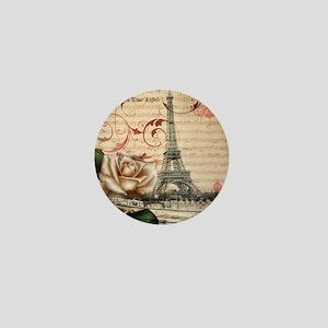 girly rose eiffel tower paris Mini Button