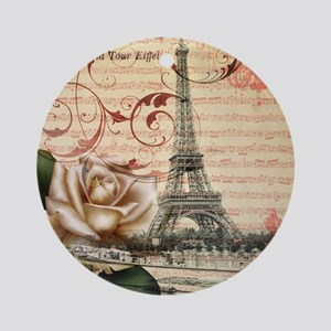 girly rose eiffel tower paris Round Ornament