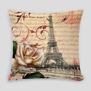 girly rose eiffel tower paris Everyday Pillow
