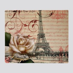 girly rose eiffel tower paris Throw Blanket