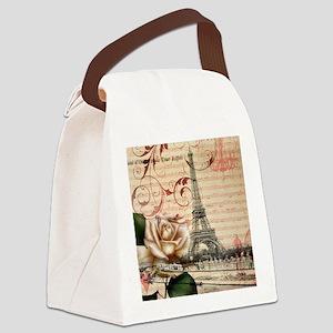 girly rose eiffel tower paris Canvas Lunch Bag