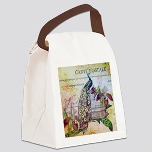 purple orchid birdcage peacock Canvas Lunch Bag