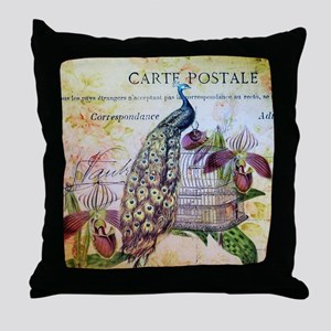 purple orchid birdcage peacock Throw Pillow