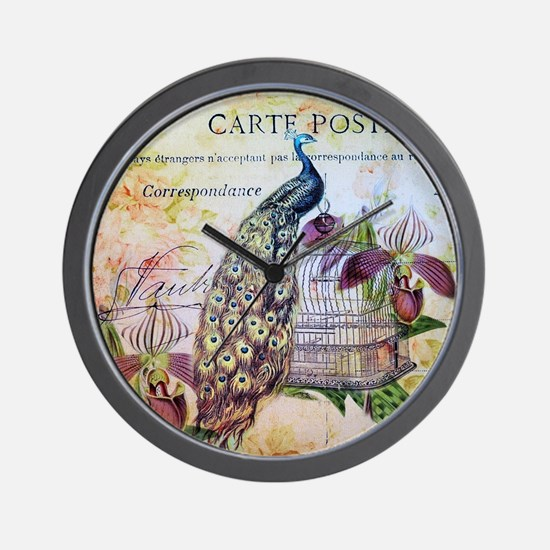 purple orchid birdcage peacock Wall Clock