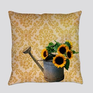 yellow damask primitive sunflower Everyday Pillow