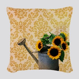 yellow damask primitive sunflo Woven Throw Pillow