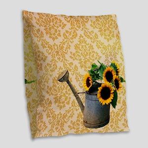 yellow damask primitive sunflo Burlap Throw Pillow