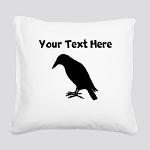Crow Silhouette Square Canvas Pillow