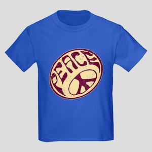 Distressed Peace Symbol #V12 Kids Dark T-Shirt