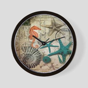french beach sea shells Wall Clock