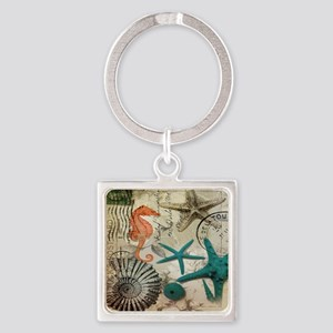 french beach sea shells Square Keychain