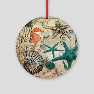 french beach sea shells Round Ornament