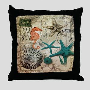 french beach sea shells Throw Pillow