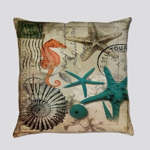 french beach sea shells Everyday Pillow