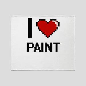 I Love Paint Throw Blanket