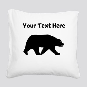 Bear Walking Silhouette Square Canvas Pillow