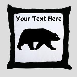 Bear Walking Silhouette Throw Pillow