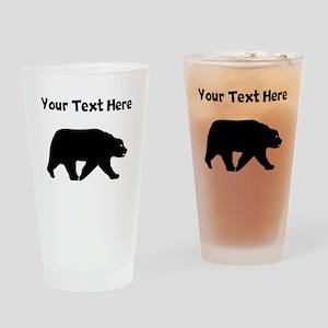 Bear Walking Silhouette Drinking Glass