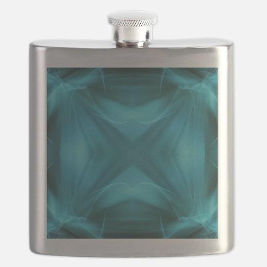 teal  geometric pattern ikat  Flask