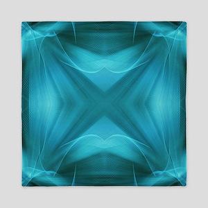 teal  geometric pattern ikat  Queen Duvet