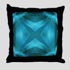 teal  geometric pattern ikat  Throw Pillow