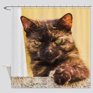 Brown Cat 1 Shower Curtain