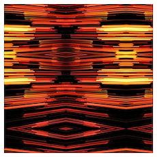 orange yellow ikat tribal pattern Poster
