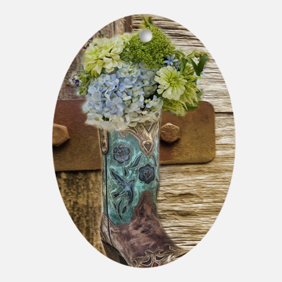 flower western country cowboy boots Oval Ornament