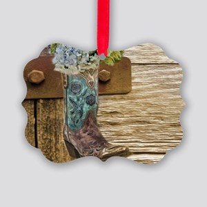 flower western country cowboy boo Picture Ornament