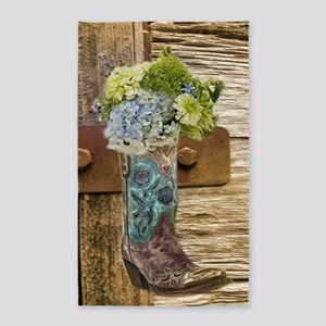 flower western country cowboy boots Area Rug