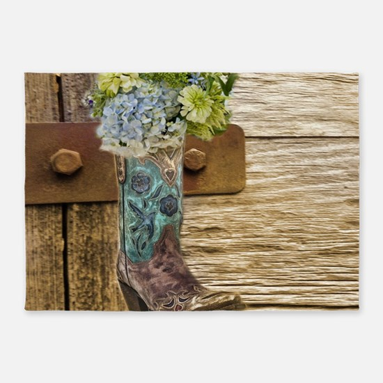 flower western country cowboy boots 5'x7'Area Rug